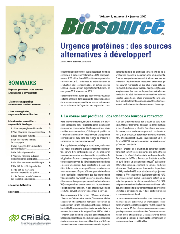 Biosourced - Volume 4, Number 2 - January 2017 - Emergency Protein: Alternative Sources to Develop!